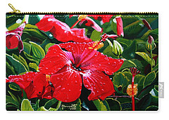 Red Hibiscus Carry-all Pouch by Marionette Taboniar