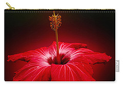 Red Hibiscus Tropical Flower Wall Art Carry-all Pouch