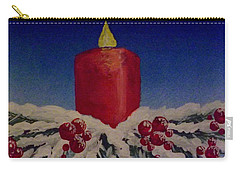 Red Holiday Candle Carry-all Pouch by Darren Robinson