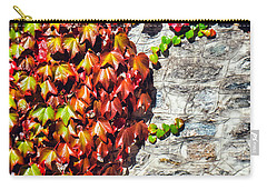 Carry-all Pouch featuring the photograph Red Ivy On Wall by Silvia Ganora