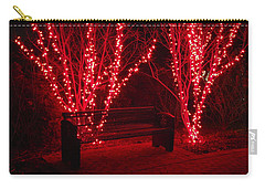 Red Lights And Bench Carry-all Pouch by Rodney Lee Williams