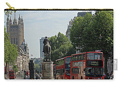 Red London Bus In Whitehall Carry-all Pouch by Tony Murtagh
