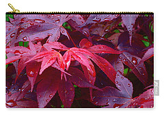 Carry-all Pouch featuring the photograph Red Maple After Rain by Ann Horn