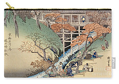 Red Maple Leaves At Tsuten Bridge Carry-all Pouch by Ando Hiroshige