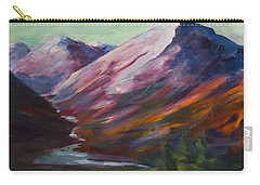 Carry-all Pouch featuring the painting Red Mountain Surreal Mountain Lanscape by Yulia Kazansky