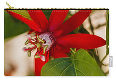 Carry-all Pouch featuring the photograph Red Passion Flower by Jane Luxton