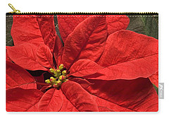 Red Poinsettia Plant For Christmas Carry-all Pouch by Jane McIlroy