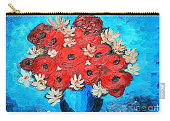 Carry-all Pouch featuring the painting Red Poppies And White Daisies by Ramona Matei