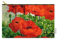Red  Poppies In Shade Colorful Flowers Garden Art Carry-all Pouch