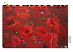 Carry-all Pouch featuring the painting Red Poppies by Jenny Lee