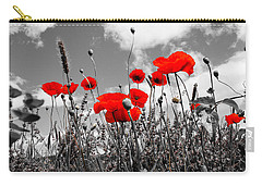 Red Poppies On Black And White Background Carry-all Pouch