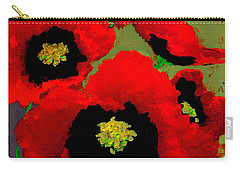 Red Poppies On Olive Carry-all Pouch