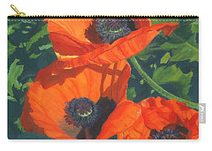 Carry-all Pouch featuring the painting Red Poppies Three by Lynne Reichhart