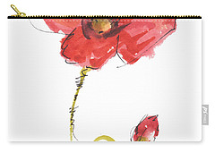 Red Poppy And Bud Carry-all Pouch
