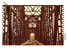 Carry-all Pouch featuring the photograph Red River Train Bridge #1 by Robert ONeil