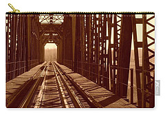 Carry-all Pouch featuring the photograph Red River Train Bridge #2 by Robert ONeil