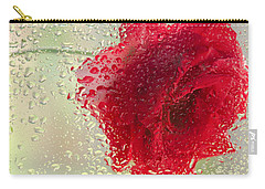 Red Rose In The Rain Carry-all Pouch by Don Schwartz