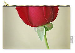 Red Rose On White Carry-all Pouch by Sandy Keeton