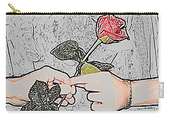 Red Rose Sketch By Jan Marvin Studios Carry-all Pouch
