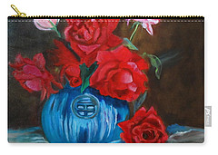 Carry-all Pouch featuring the painting Red Roses And Blue Vase by Jenny Lee