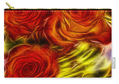 Carry-all Pouch featuring the painting Red Roses In Water - Fractal  by Lilia D