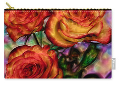 Carry-all Pouch featuring the digital art Red Roses In Water - Silk Edition by Lilia D
