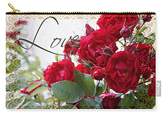 Carry-all Pouch featuring the photograph Red Roses Love And Lace by Sandra Foster