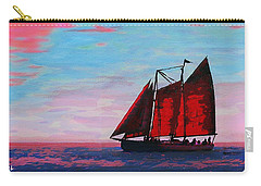 Carry-all Pouch featuring the painting Red Sails On The Chesapeake - New Multimedia Acrylic/oil Painting by G Linsenmayer