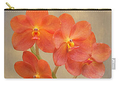 Red Scarlet Orchid On Grunge Carry-all Pouch