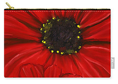 Red Spectacular- Red Gerbera Daisy Painting Carry-all Pouch by Lourry Legarde