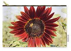 Red Sunflower And Bee Carry-all Pouch by Kerri Mortenson