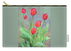 Red Tulips Colorful Painting Of Flowers By K. Joann Russell Carry-all Pouch