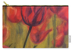 Carry-all Pouch featuring the painting Red Tulips by Donna Tuten