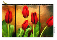 Red Tulips Triptych Carry-all Pouch by Lourry Legarde