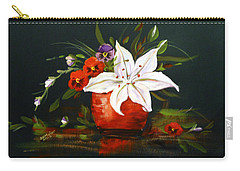 Red Vase With Lily And Pansies Carry-all Pouch