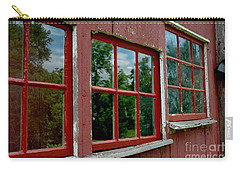 Carry-all Pouch featuring the photograph Red Windows Paned by Christiane Hellner-OBrien