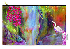 Waterfall And White Peacock, Redbud Falls Carry-all Pouch