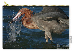 Carry-all Pouch featuring the photograph Reddish Egret Splash by John F Tsumas