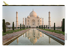 Reflection Of A Mausoleum In Water, Taj Carry-all Pouch