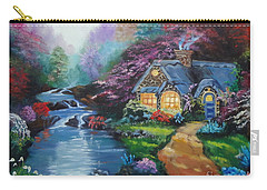Carry-all Pouch featuring the painting Reflections Cottage by Jenny Lee