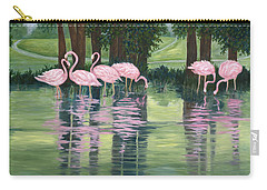 Carry-all Pouch featuring the painting Reflections In Pink by Karen Zuk Rosenblatt