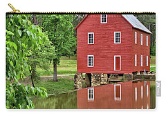Reflections Of A Retired Grist Mill - Square Carry-all Pouch by Gordon Elwell