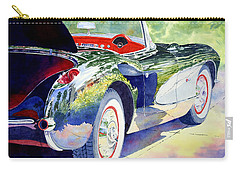 Carry-all Pouch featuring the painting Reflections On A Corvette by Roger Rockefeller
