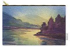 Carry-all Pouch featuring the painting Reflections On North South Lake by Ellen Levinson