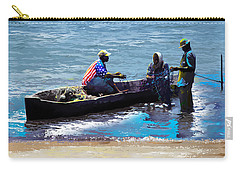 Carry-all Pouch featuring the painting Repairing The Net At Lake Victoria by Anthony Mwangi