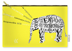Responsible Tourism Elephant Typography Poster Carry-all Pouch by Nola Lee Kelsey