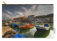 Carry-all Pouch featuring the photograph resting boats at the Jaffa port by Ron Shoshani