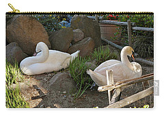 Carry-all Pouch featuring the photograph Resting Swan Mates by Michele Myers