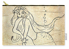 Retro Mermaid Carry-all Pouch by Rosalie Scanlon