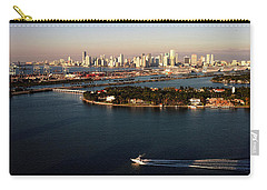 Retro Style Miami Skyline Sunrise And Biscayne Bay Carry-all Pouch